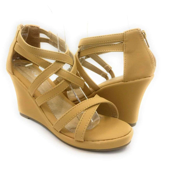 Anna Mikka-10 Camel Color Wedge Shoes for Women