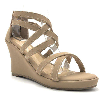 Anna Mikka-10 Taupe Color Wedge Shoes for Women