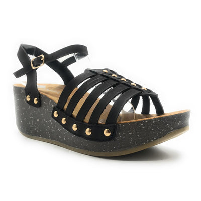 Anna Vanilla-1 Black Color Wedge Shoes for Women