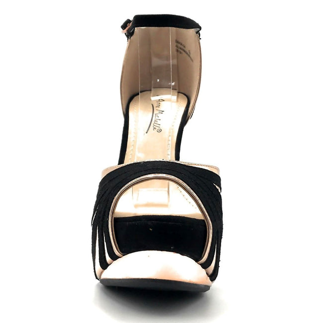 Anne Michelle Baha-24 Rose Gold Color Heels Front View, Women Shoes