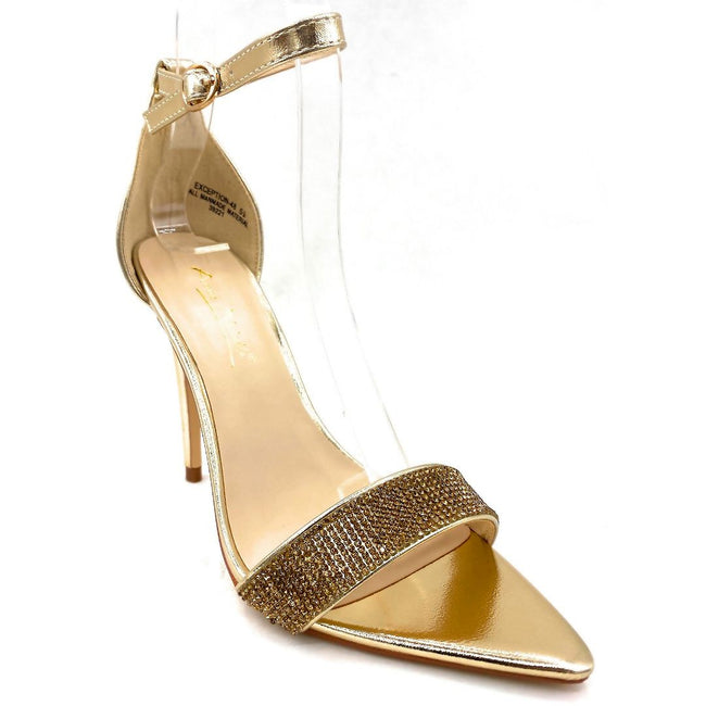 Anne Michelle Exception-48 Gold Color Heels Right Side View, Women Shoes