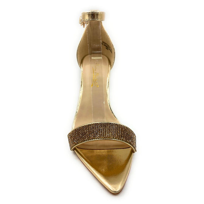 Anne Michelle Exception-48 Gold Color Heels Front View, Women Shoes