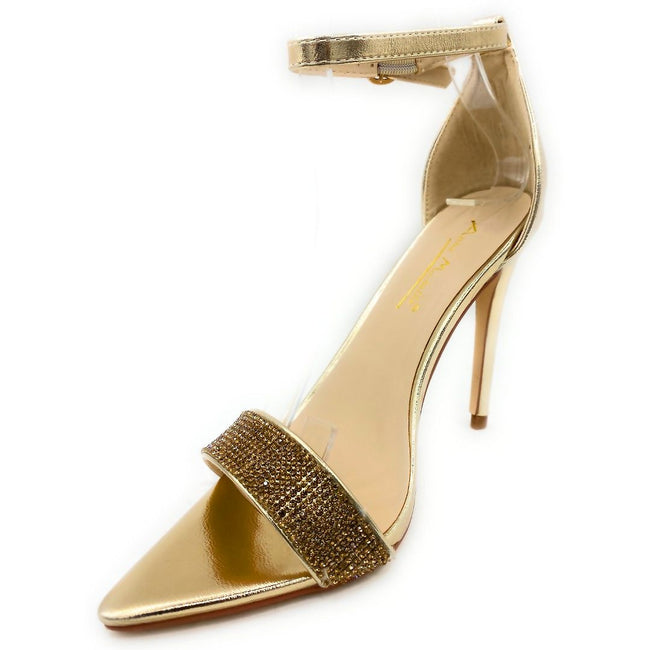 Anne Michelle Exception-48 Gold Color Heels Left Side view, Women Shoes