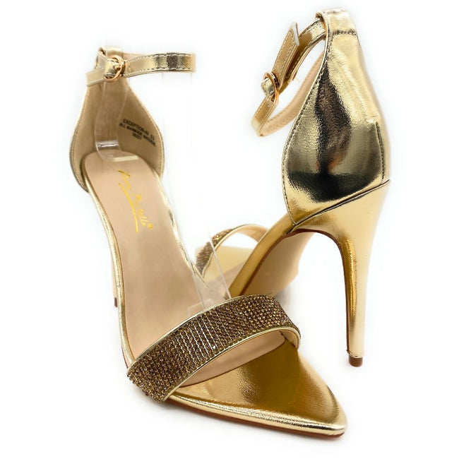 Anne Michelle Exception-48 Gold Color Heels Both Shoes together, Women Shoes