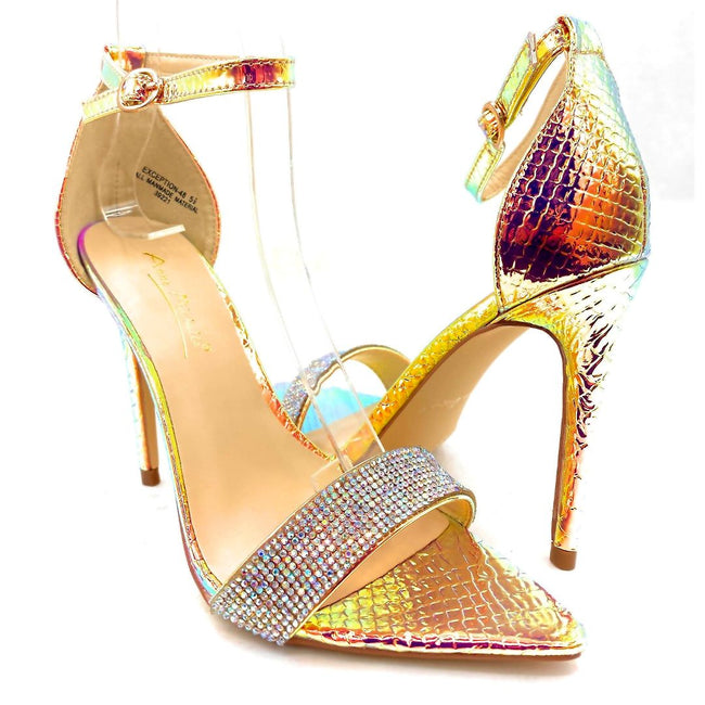 Anne Michelle Exception-48 Iridescent Color Heels Both Shoes together, Women Shoes