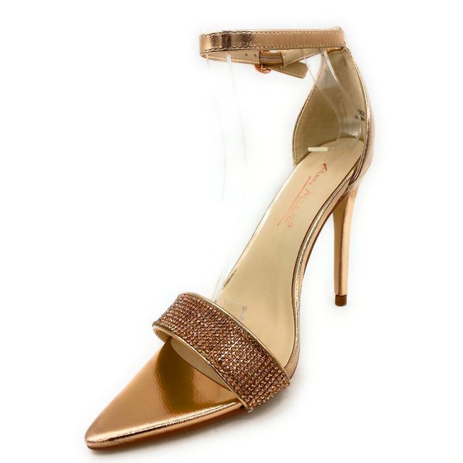 Anne Michelle Exception-48 Rose Gold Color Heels Left Side view, Women Shoes