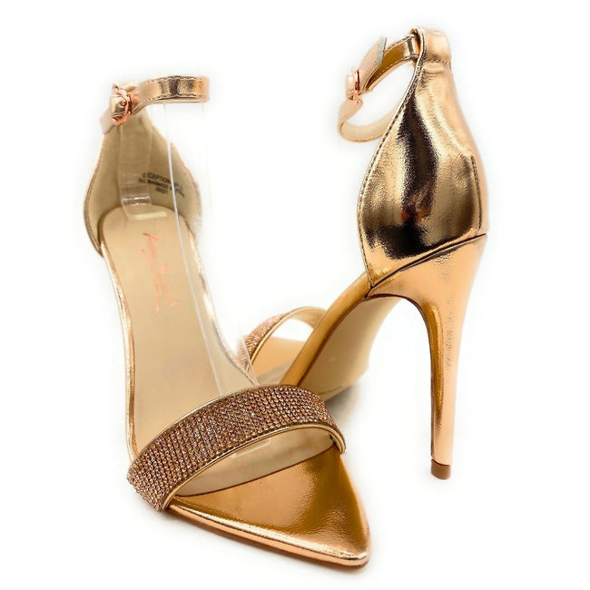 Anne Michelle Exception-48 Rose Gold Color Heels Both Shoes together, Women Shoes