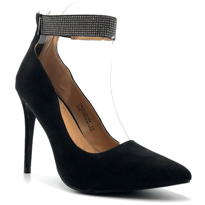 Anne Michelle Hibiscus-16s Black Color Heels Right Side View, Women Shoes