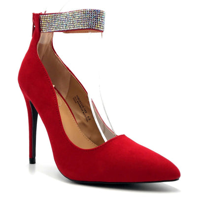 Anne Michelle Hibiscus-16s Red Color Heels Right Side View, Women Shoes