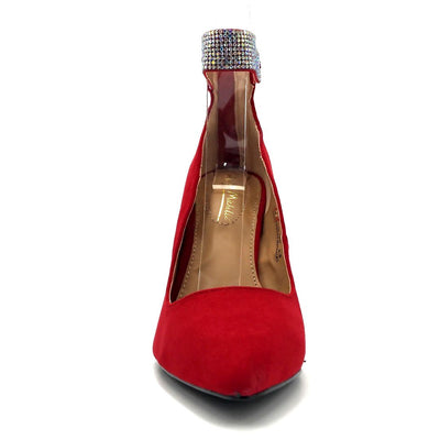 Anne Michelle Hibiscus-16s Red Color Heels Front View, Women Shoes