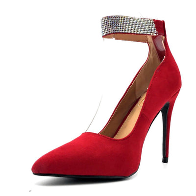 Anne Michelle Hibiscus-16s Red Color Heels Left Side view, Women Shoes