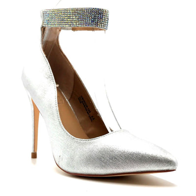 Anne Michelle Hibiscus-16s Silver Color Heels Right Side View, Women Shoes