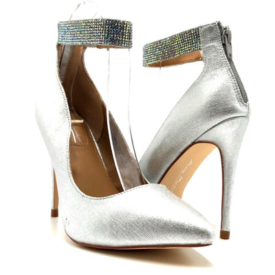 Anne Michelle Hibiscus-16s Silver Color Heels Both Shoes together, Women Shoes
