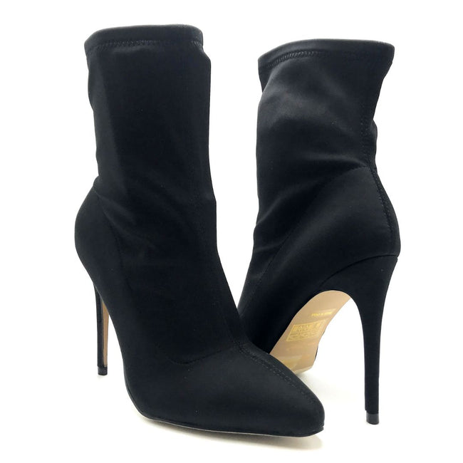 Anne Michelle Hibiscus-40 Black Color Heels Both Shoes together, Women Shoes