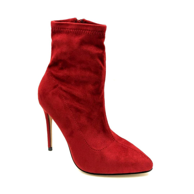 Anne Michelle Hibiscus-63 Red Color Heels Right Side View, Women Shoes