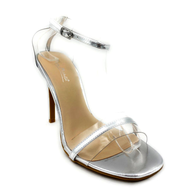 Anne Michelle Timeless-11S Silver Color Heels Right Side View, Women Shoes
