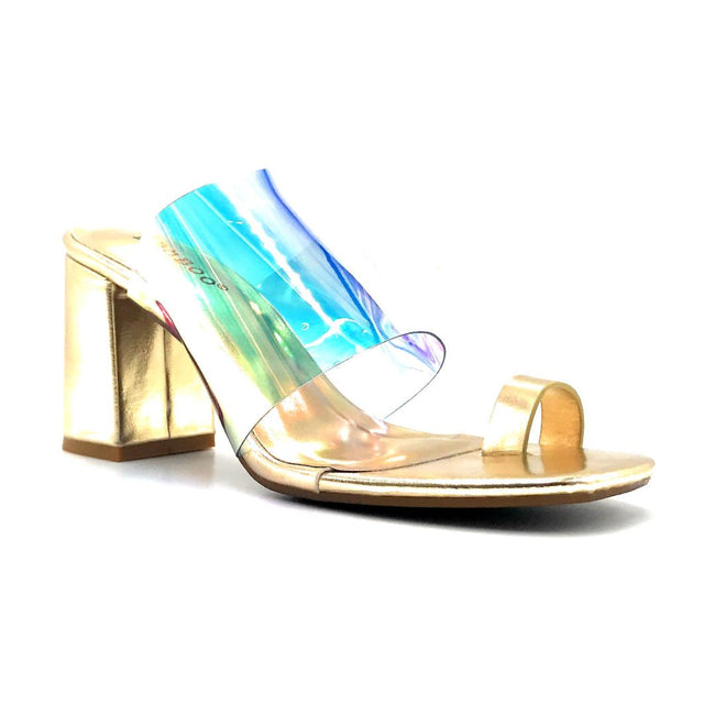 Bamboo Addless-02S Iridescent Color Heels Right Side View, Women Shoes
