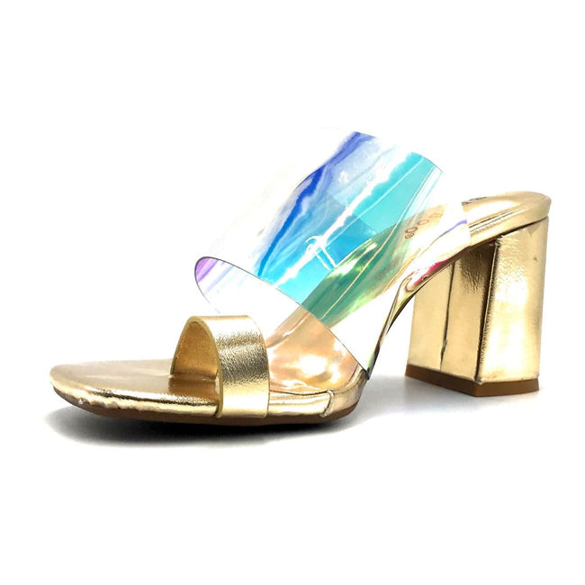 Bamboo Addless-02S Iridescent Color Heels Left Side view, Women Shoes