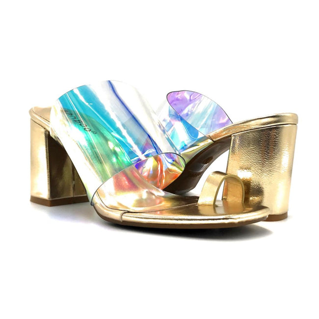 Bamboo Addless-02S Iridescent Color Heels Both Shoes together, Women Shoes