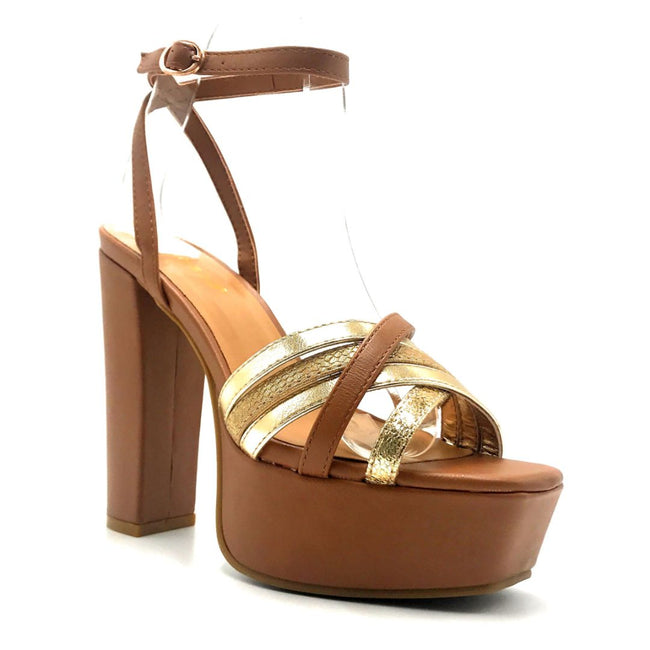 Bamboo Admire-15 Tan Color Heels Right Side View, Women Shoes
