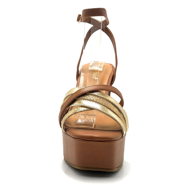 Bamboo Admire-15 Tan Color Heels Front View, Women Shoes