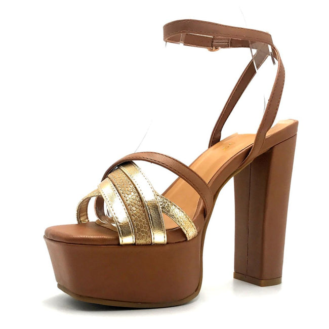 Bamboo Admire-15 Tan Color Heels Left Side view, Women Shoes