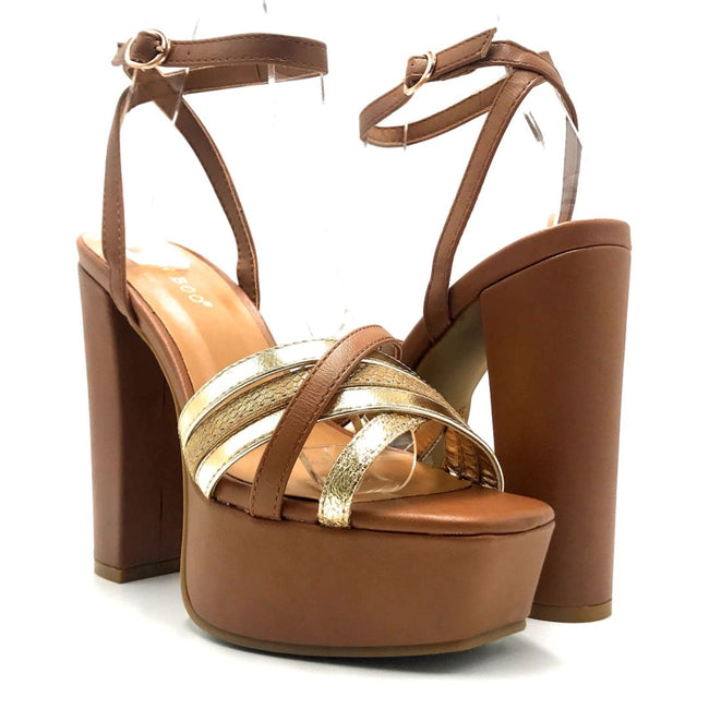 Bamboo Admire-15 Tan Color Heels Both Shoes together, Women Shoes
