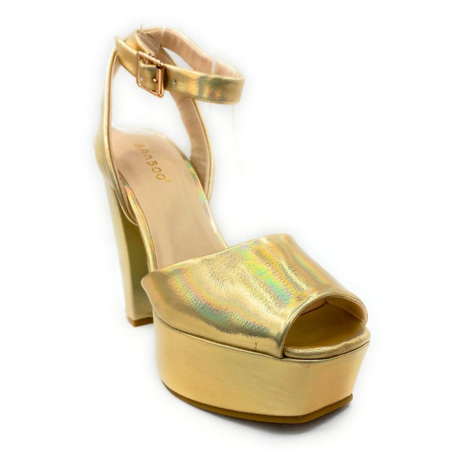Bamboo Admire-17 Gold Color Heels Right Side View, Women Shoes