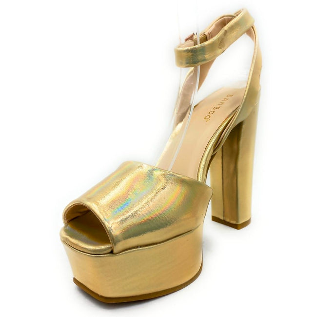 Bamboo Admire-17 Gold Color Heels Left Side view, Women Shoes
