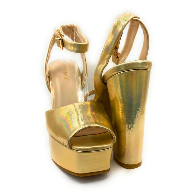 Bamboo Admire-17 Gold Color Heels Both Shoes together, Women Shoes