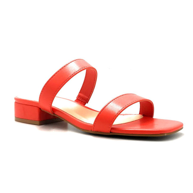 Bamboo Airy-04 Coral Color Flat-Sandals Right Side View, Women Shoes