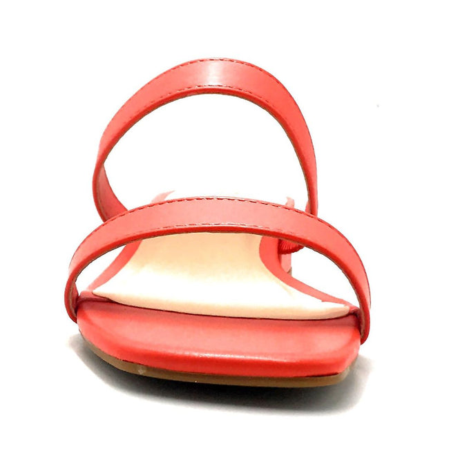 Bamboo Airy-04 Coral Color Flat-Sandals Front View, Women Shoes