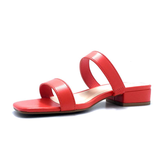 Bamboo Airy-04 Coral Color Flat-Sandals Left Side view, Women Shoes