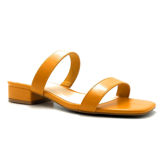 Bamboo Airy-04 Mari Gold Color Flat-Sandals Right Side View, Women Shoes