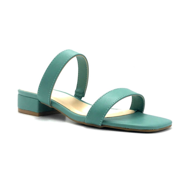 Bamboo Airy-04 Sage Color Flat-Sandals Right Side View, Women Shoes