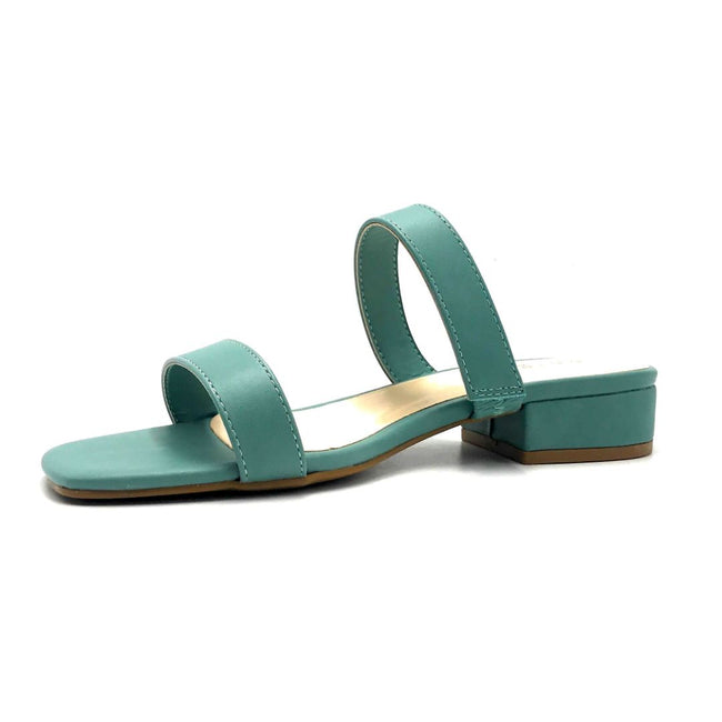 Bamboo Airy-04 Sage Color Flat-Sandals Left Side view, Women Shoes