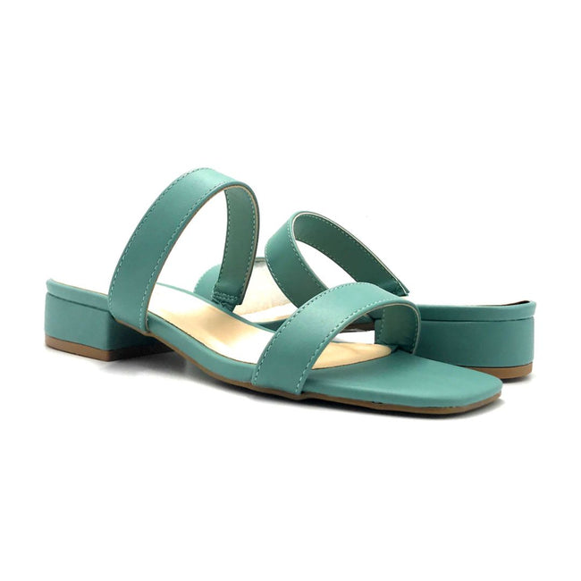 Bamboo Airy-04 Sage Color Flat-Sandals Both Shoes together, Women Shoes