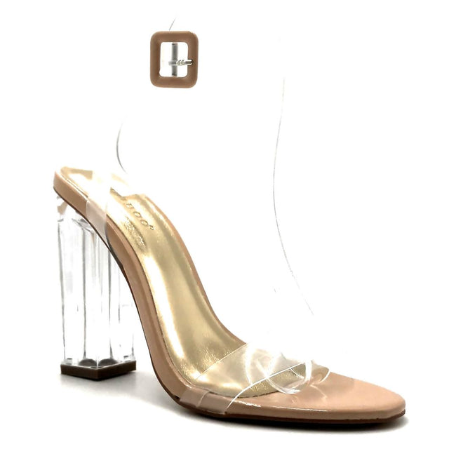 Bamboo Avenue-06 Nude Patent Color Heels Right Side View, Women Shoes