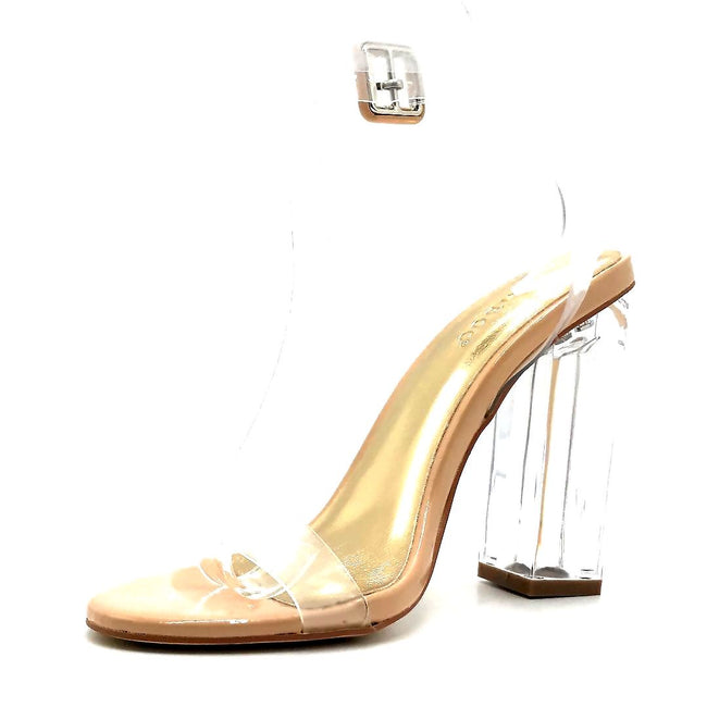 Bamboo Avenue-06 Nude Patent Color Heels Left Side view, Women Shoes