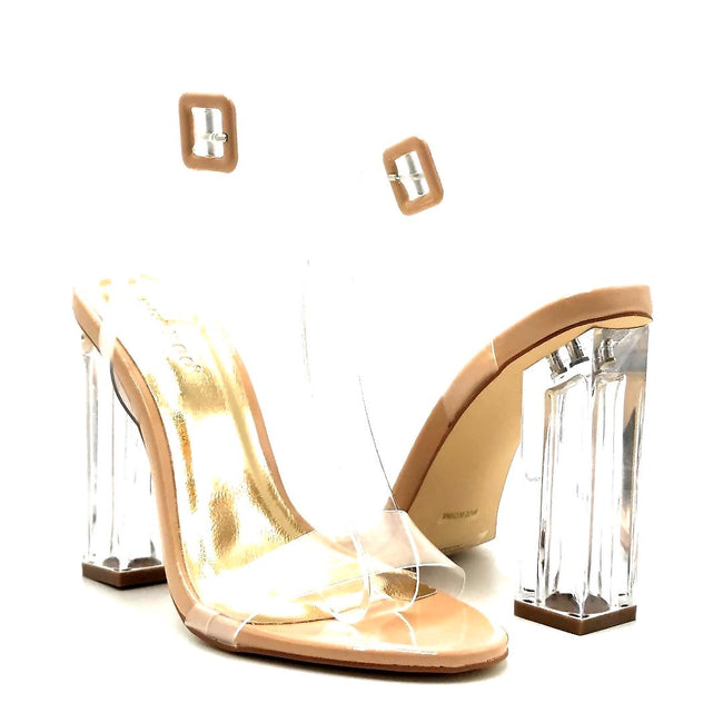 Bamboo Avenue-06 Nude Patent Color Heels Both Shoes together, Women Shoes