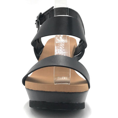 Bamboo Beehive-07 Black Color Wedge Shoes for Women