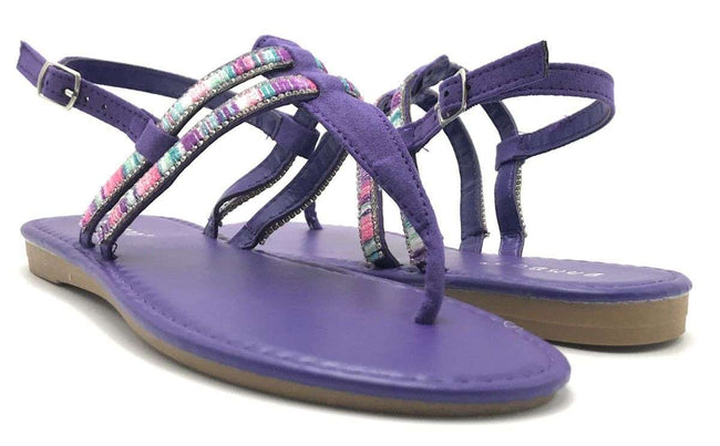 Bamboo Elektra-10S Violet Color Flat-Sandals Shoes for Women