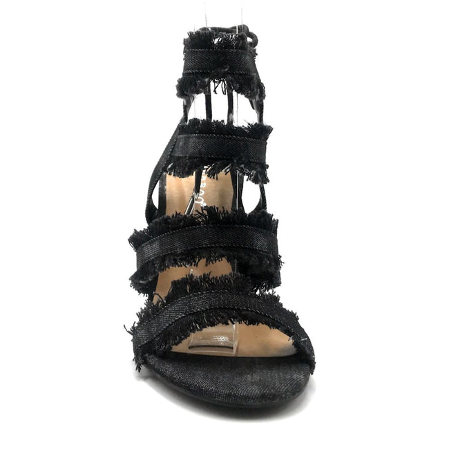 Bamboo Encounter-88s Black Color Heels Front View, Women Shoes