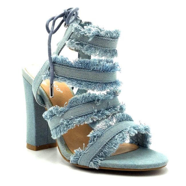 Bamboo Encounter-88s Blue Color Heels Right Side View, Women Shoes