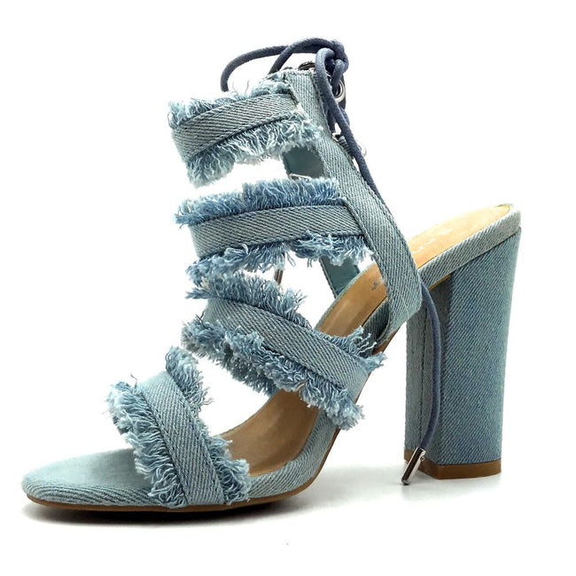 Bamboo Encounter-88s Blue Color Heels Left Side view, Women Shoes