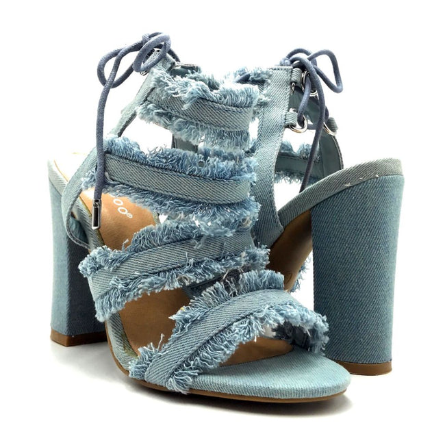 Bamboo Encounter-88s Blue Color Heels Both Shoes together, Women Shoes