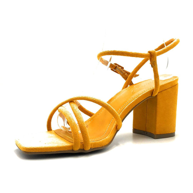 Bamboo Forever-01 Mari Gold Color Heels Left Side view, Women Shoes