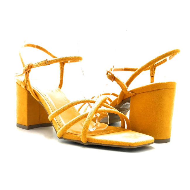 Bamboo Forever-01 Mari Gold Color Heels Both Shoes together, Women Shoes