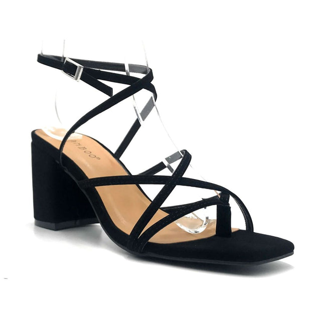 Bamboo Forever-17 Black Color Heels Right Side View, Women Shoes