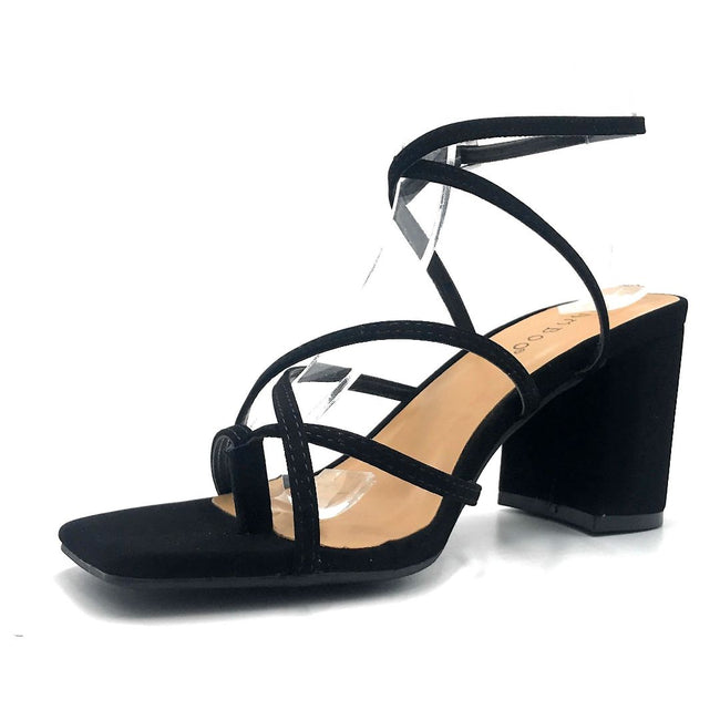 Bamboo Forever-17 Black Color Heels Left Side view, Women Shoes